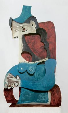 Pablo Picasso - Woman with hat sheet metal, 1963 - cut out, folded, and painted. Pablo Picasso Sculptures, Cubist Sculpture, Art Picasso, Picasso Paintings, Cubist Movement, Art Gallery, Arte Tribal, Georges Braque, Art Plastique