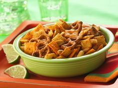Taco-Seasoned Chex  I always love making homemade chex mix.  Cant wait to try this!