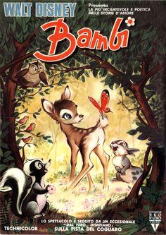 Bambi 2 fogli (100x140 cm.) seconda edizione italiana 1957