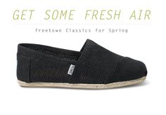 Toms shoes are not only eco-friendly and cool looking they also give a pair of shoes to someone in need for every pair you buy!