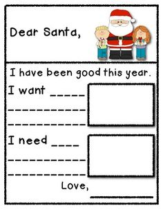 Santa Letter - Needs and Wants - This is a simple version of a letter to Santa that I use while teaching needs and wants. Enjoy this FREEBIE! Please visit my store if you like my product. Also, come by and check out my blog for additional freebies.