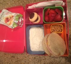 Simple but successful! Ham and cheese sandwich, yogurt with granola topping, Honest Kids juicebox, strawberries and a couple of cookies for dessert! My daughter says this is her perfect lunch!