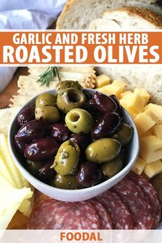 Warm, roasted olives with garlic and fresh herbs are dressed to impress as a savory appetizer for any gathering. Get the easy recipe on Foodal now. Fall Appetizers, Vegetarian Appetizers, Easy Appetizer Recipes, Party Recipes, Olive Recipes Appetizers, Appetizer Ideas, Potluck Recipes, Party Snacks, Roasted Olives