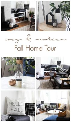 A Beautiful Cozy Fall Home Tour Love The Pops Of Mustard Yellow In This Monochromatic