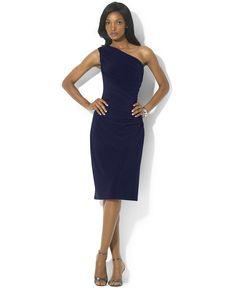 Lauren Ralph Lauren One-Shoulder Sheath Dress - Dresses - Women - Macy's
