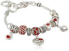 "Silver-Tone Heart Bead Charm Bracelet, 7.5"""