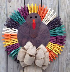 Thanksgiving turkey clothespin wreath