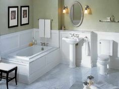 Bathroom: gorgeous bathroom renovation on a budget decoration using Marble Bathroom Floor, White Marble Bathrooms, White Master Bathroom, Wainscoting Bathroom, Bathroom Flooring, Wainscoting Ideas, Small Bathrooms, Simple Bathroom, Tiled Bathrooms
