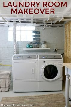 One of the best basement laundry room makeovers we have seen. One of the best basement laundry room makeovers we have seen. Before and after laundry room makeover photos. Laundry Room Remodel, Laundry Room Storage, Laundry Room Design, Laundry Room Wall Decor, Basement Makeover, Basement Renovations, Basement Ideas, Basement Office, Basement Decorating