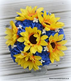 Summer Wedding Bouquet sunflower and royal blue rose bridal posy