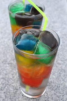 Over the Rainbow Drinks ~ Freeze different Kool Aid flavors in ice cube trays, place in glass and pour in Sprite