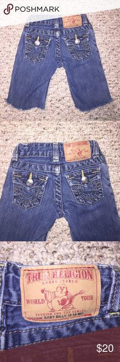 True Religion Shorts (Baby Billy 12-18 mo) True Religion Shorts (Baby Billy 12-18 mo); these were jeans that I cut into shorts for my son; good pre-loved condition True Religion Bottoms Shorts