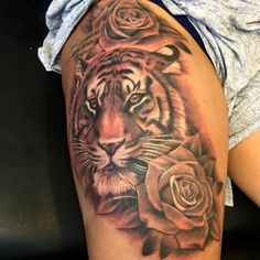 Grey-Rose-Flower-And-Tiger-Head-Tattoo-On-Thigh.jpg (600×600)