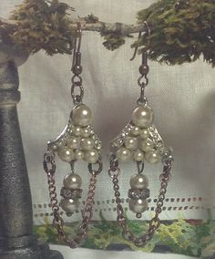 Dangling Vintage Pearl & Rhinestone Drop Earrings Two Tone Pierced Copper Silver Handmade Assemblage WishAnWearJewelry by WishAnWearJewelry on Etsy