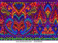 seamless colorful ethnic pattern. geometric and paisley elements on black background. very detailed ikat style allover design. bright neon colors create woven or embroidery texture.