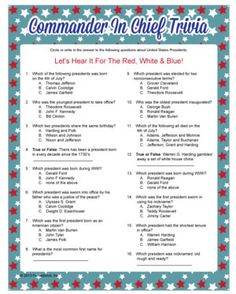 Commander in chief trivia about past presidents. Patriotic game by Funsational.