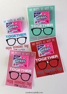 Freebie printable Valentine - so cute Let's be Nerds Together!