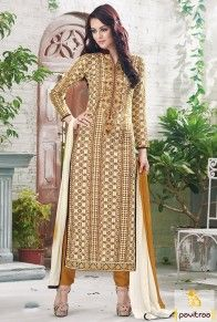 Cream Brown Chiffon Casual Suit  #monsoondress, #rainydress, #salwarsuits, #salwarkameez, #striaghtdress, #churidarsuits, #cottondress, #partyweardress, #partywearsalwarsuits, #embroiderydress, #embroiderysalwarsuits, #clothes, #fashion, #women #shopping, #browndress, #creamdress  http://www.pavitraa.in/salwar-suit.html  Call Us : +91-7698234040 (WhatsApp) Email _Id : info@pavitraa.in