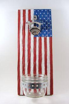 wall mount bottle opener reclaimed wood mason jar cap catcher American flag stars and stripes