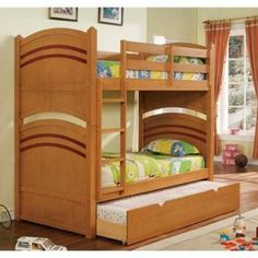 Deco Oak Finish Two Tone Twin Childrens Bunk Bed with Trundle Bunk Beds With Storage, Bunk Bed With Trundle, Childrens Bunk Beds, Kids Bunk Beds, Triple Bunk Beds, Storage Drawers, Bed Frame, Space Saving, Twin