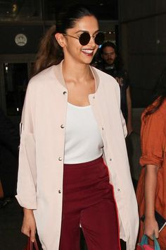 Deepika Padukone arriving at LAX airport in Los Angeles yesterday.
