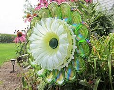 Lawn Ornament Colorful Carnival Glass Garden Art Sculpture Yard Decor Egg Plate Flower Suncatcher Reclaimed Material Recycled Glass Art