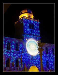 Blue light stars Torre dell' Orologio in Padua Italy Padova, Natale in Piazza dei Signori,  Italy Kids Christmas, Xmas, Public Square, Honeymoon Planning, Sistine Chapel, Twelfth Night, Northern Italy, Winter Solstice, Fresco