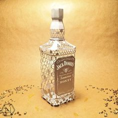 https://flic.kr/p/sX7FYW | 3D Cut Paper Jack Daniel's Bottle | Created by Norman Von Schmeling. Blogged: www.allthingspaper.net/2015/05/3d-paper-models-norman-von...