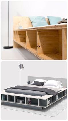 Bed Wilhelm himself build - beds Diy Bett, Best Greenhouse, Interior Styling, Interior Design, Wood Beds, Room Inspiration, Room Decor, Shelves, Storage