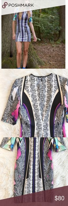 Clover Canyon Janipur Jungle Scuba Dress g490 Clover Canyon Janipur Jungle Scuba Dress in excellent condition. Bright mixed - media patterns all over. Size large. Fitted style. No trades, offers welcome. Clover Canyon Dresses