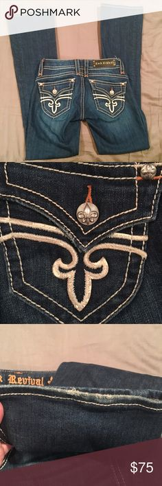"Rock Revival Boot Cut Jeans EUC! Light wear as seen in picture. Size 27. Inseam 33.5"". NO TRADES. Rock Revival Jeans Boot Cut"