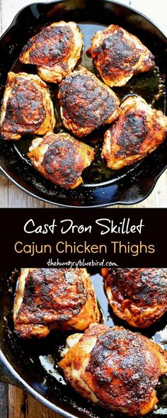 Crispy Cajun chicken thighs in the cast iron skillet. Crispy Cajun chicken thighs in the cast iron skillet. Preheat the skillet in the oven, sear on the stove top, then finish off back in the oven. Perfect every time. Cast Iron Skillet Cooking, Iron Skillet Recipes, Chicken Skillet Recipes, Cast Iron Recipes, Chicken Thigh Recipes, Chicken Cast Iron Skillet, Cooking With Cast Iron, Cast Iron Chicken Recipes, Cast Iron Fried Chicken
