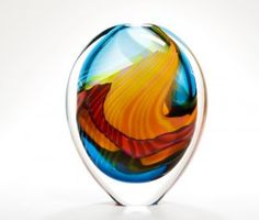 Peter Layton: Small Thick-cased Turquoise Paradiso Stoneform. www.londonglassblowing.co.uk