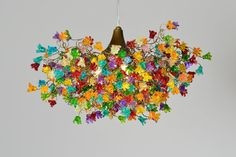 Ceiling lamp with rainbow jumping flowers  a very Unique Chandelier for dinning room or bedroom..