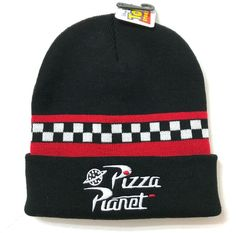 b0114eb0708 PIZZA PLANET BEANIE cuffed winter knit ski hat black red toy story disney  ADULT  Disney