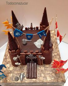 Medieval castle of chocolate cake # Medieval . Toddler Birthday Cakes, Castle Birthday Cakes, Birthday Cake Girls, Knight Cake, Knight Party, Medieval Party, Medieval Castle, Dragon Birthday Parties, Cake Shapes