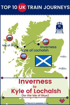 Traveling the UK by rail is a wonderful way to see the country. Check out our top 10 train trips and scenic rail journeys to take across the UK. Inverness to the Kyle of Lochalsh #UK #travel #trains #rail #railway Edinburgh Travel, Scotland Travel, London Travel, Manchester Piccadilly, Kyle Of Lochalsh, Uk Rail, Birmingham News, Journey Mapping, Train Service