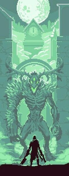 #Bloodborne #art #pixel #hunter #boss #Clerik Beast
