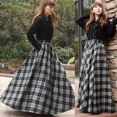 Vintage Long Skirt Winter Women Plaid Skirts,saias,faldas,high Waist Woolen Skirt Female Plus Size Pleated Maxi Skirt Jupe Midi Skirt Outfit Casual, Black Pencil Skirt Outfit, Midi Rock Outfit, Black Skirt Outfits, Girly Outfits, Casual Skirts, Black Maxi, Modest Outfits, Women's Casual