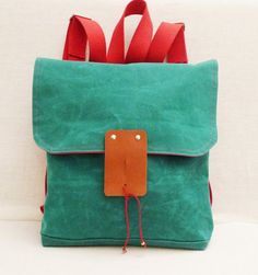 Cute Green Waxed Canvas  Backpack  with Adjustable Red by ottobags, $65.00