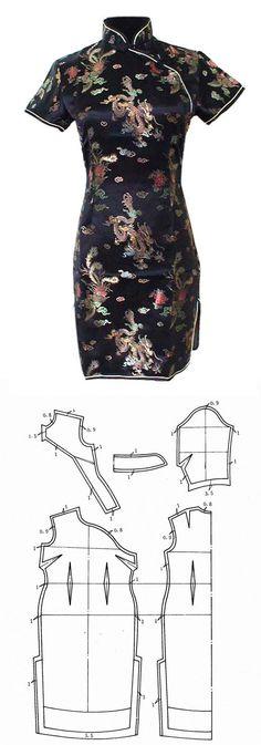 Tradicional chinese dress pattern Make with Ankara fabric Dress Sewing Patterns, Clothing Patterns, Easy Dress Pattern, Diy Clothing, Sewing Clothes, Fashion Sewing, Diy Fashion, Robe Diy, Diy Kleidung