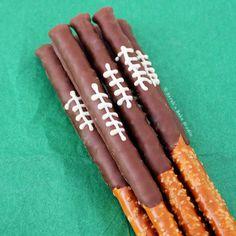 Chocolate Football Pretzel Rods  - Redbook.com