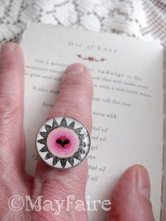 Lovespell Silver Adjustable Resin Ring by MayfaireArt on Etsy, $14.99
