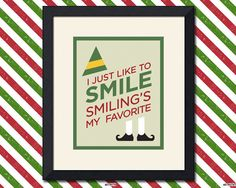 Buddy the Elf Christmas Print, Smile Quote, 8x10 inch from Faith Hope Trick
