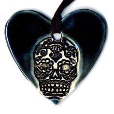 Day of the Dead Skull Ceramic Necklace in Midnight Teal by surly, $22.00