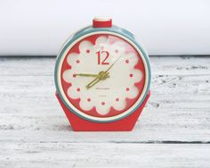 Vintage Alarm Mechanical Clock  Sea Green and Red  Made by OldBox