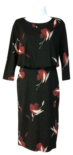 NEW Ex George Green Floral Print drop hem Top with button back Size 8-24
