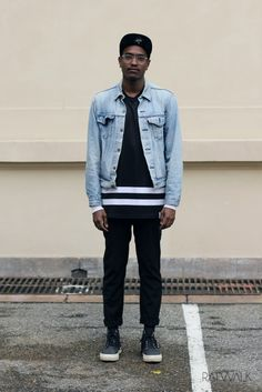 Ootd, men's fashion, street style, denim jacket, caps, black and white, outfit