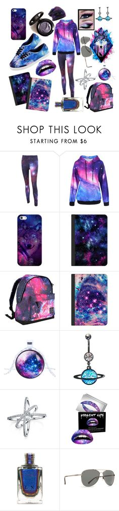 """""""Galaxy Wolves"""" by hopetomlin ❤ liked on Polyvore featuring Casetify, Hot Tuna, Halftone Bodyworks, Vans, Bling Jewelry, Forever 21 and Billabong"""