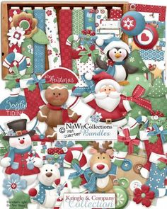 Cute digital scrapbook Christmas kit and card making Christmas kit in traditional Christmas colours.   Santa, gingerbread, rudolph and a snowman are just a few of the Christmas cast that make up this creative Christmas kit.  Digital scrapbooking kit FQB - Kringle & Company Collection by Nitwit Collections™